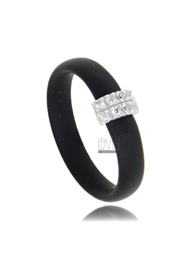 RUBBER RING IN &39BLACK WITH CENTRAL AG WITH RHODIUM PAVE&39 TIT FOR ZIRCONIA 925