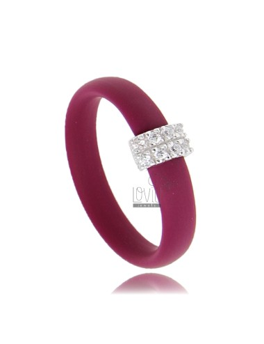 RUBBER RING &39MARC WITH CENTRAL AG WITH RHODIUM PAVE&39 TIT FOR ZIRCONIA 925