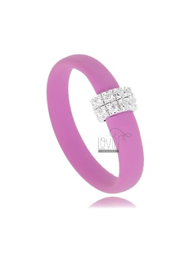 RUBBER RING &39PINK WITH CENTRAL AG WITH RHODIUM PAVE&39 TIT FOR ZIRCONIA 925