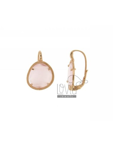 Monachella SMALL STONE EARRINGS WITH PINK PEARL STONE HYDROTHERMAL 11P IN ROSE GOLD PLATED AG TIT 925 ‰