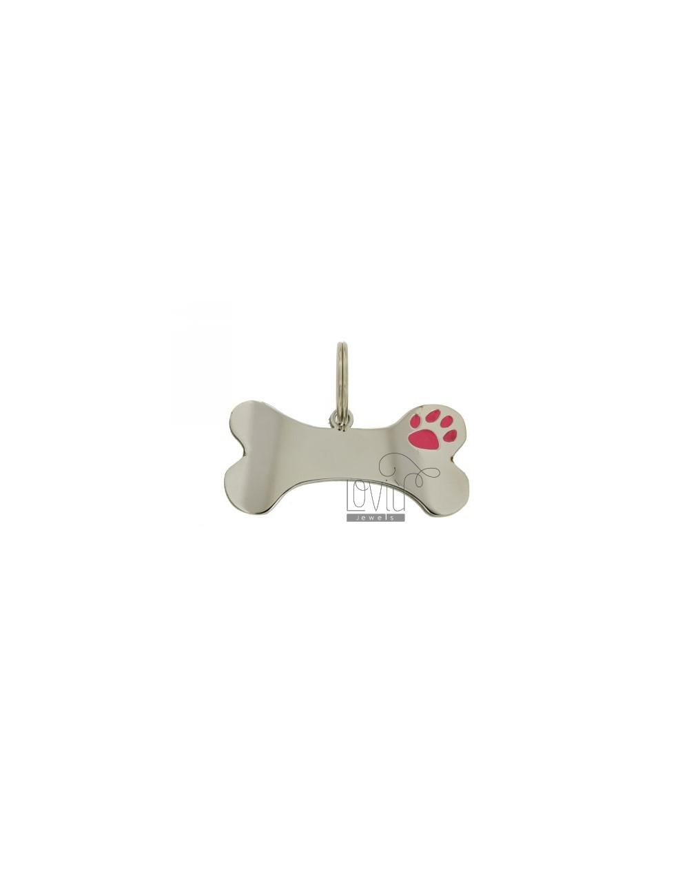 MEDAL FOR DOG BONE SHAPED WITH 23X50 MM BRISE &3917 MM STEEL GLAZED WITH PINK paw