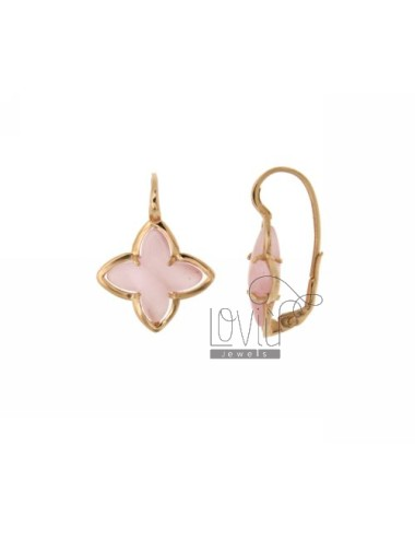 FLOWER EARRING Monachella 4 POINTS WITH STONE HYDROTHERMAL 11P PINK PEARL SILVER ROSE GOLD PLATED TIT 925 ‰