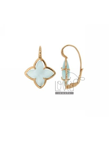 FLOWER EARRING Monachella 4 POINTS WITH STONE HYDROTHERMAL 2P BLUE PEARL SILVER ROSE GOLD PLATED TIT 925 ‰