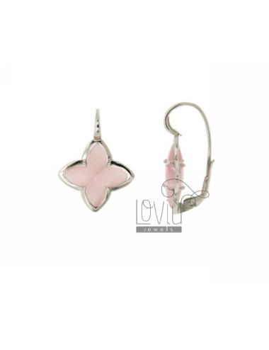 FLOWER EARRING Monachella 4 POINTS WITH STONE HYDROTHERMAL 11P PINK PEARL SILVER RHODIUM TIT 925 ‰