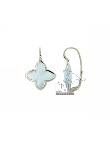 FLOWER EARRING Monachella 4 POINTS WITH STONE HYDROTHERMAL 2P BLUE PEARL SILVER RHODIUM TIT 925 ‰