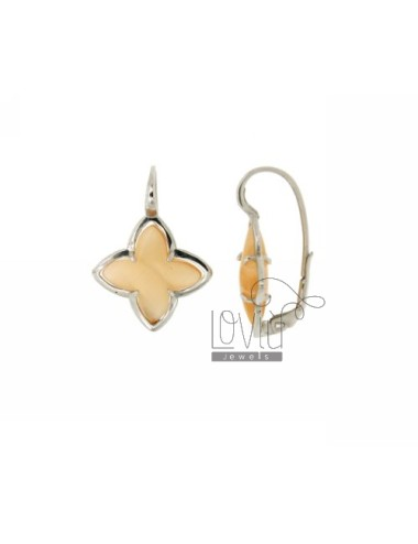 FLOWER EARRING Monachella 4 POINTS WITH ORANGE PEARL STONE HYDROTHERMAL 6P SILVER RHODIUM TIT 925 ‰