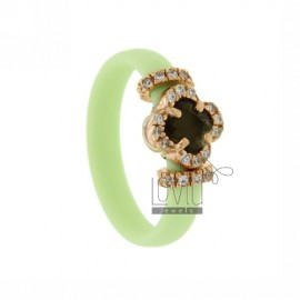 RUBBER RING IN &39GREEN PASTEL FLOWER WITH APPLICATION IN ROSE GOLD PLATED AG TIT 925 ‰, ZIRCONS HYDROTHERMAL VARIOUS COLORS A
