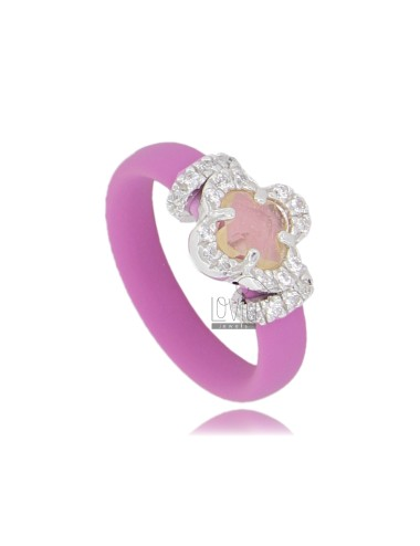 RUBBER RING &39APPLICATION WITH PINK FLOWER IN RHODIUM AG TIT 925 ‰, ZIRCONS HYDROTHERMAL VARIOUS COLORS AND STONES