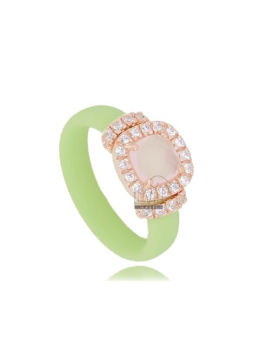 RUBBER RING IN &39GREEN PASTEL WITH APPLICATION IN SQUARE AG ROSE GOLD PLATED TIT 925 ‰, ZIRCONS HYDROTHERMAL VARIOUS COLORS A