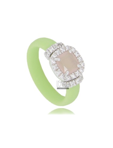 RUBBER RING IN &39GREEN PASTEL WITH APPLICATION IN SQUARE AG RHODIUM TIT 925 ‰, ZIRCONS HYDROTHERMAL VARIOUS COLORS AND STONES
