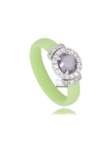 RUBBER RING IN &39GREEN PASTEL WITH APPLICATION ROUND TIT AG RHODIUM 925 ‰, ZIRCONS HYDROTHERMAL VARIOUS COLORS AND STONES