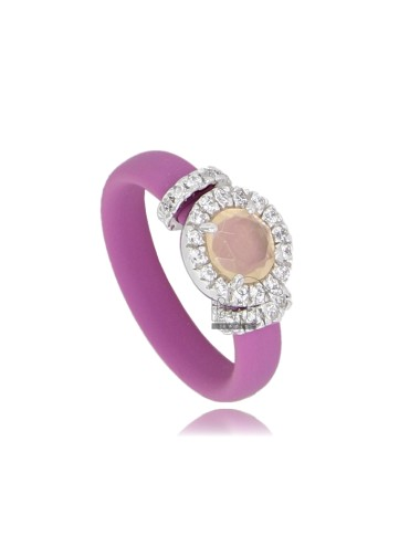 RUBBER RING &39ROUND PINK WITH APPLICATION IN RHODIUM AG TIT 925 ‰, ZIRCONS HYDROTHERMAL VARIOUS COLORS AND STONES