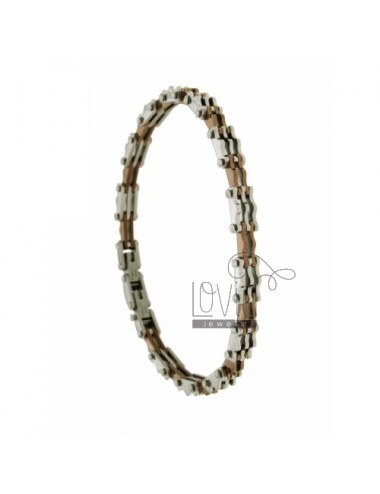Hinged BRACELET STEEL WITH COPPER PLATED ITEMS