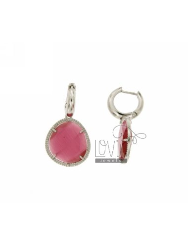 BEAD EARRINGS WITH STONE snap 16P PINK PENDANT RHODIUM AG TIT 925