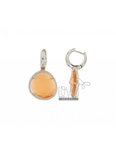 BEAD EARRINGS WITH STONE snap PASTEL ORANGE 6P PENDANT RHODIUM AG TIT 925