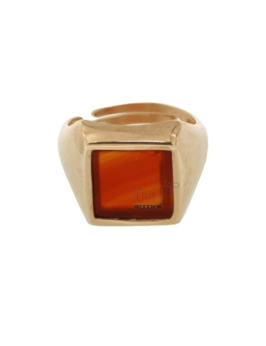 13X13 MM SQUARE RING WITH RED AGATE SILVER PLATED ROSE GOLD 925 TIT SIZE ADJUSTABLE FROM 12