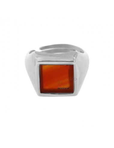 13X13 MM SQUARE RING WITH RED AGATE 925 SILVER RHODIUM TIT SIZE ADJUSTABLE FROM 12