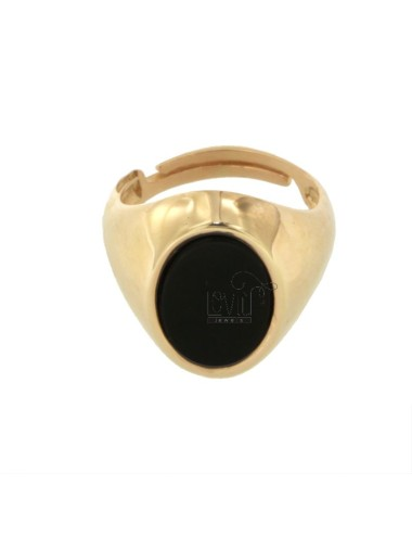 15X11 MM OVAL RING WITH ONYX SILVER ROSE GOLD PLATED SIZE ADJUSTABLE FROM TIT 925 12