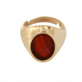 15X11 MM OVAL RING WITH RED AGATE SILVER PLATED ROSE GOLD 925 TIT SIZE ADJUSTABLE FROM 12