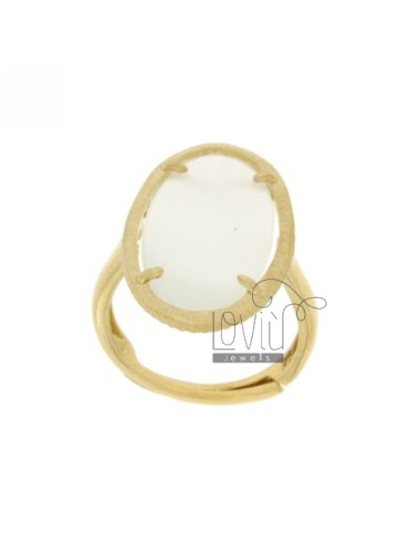 OVAL RING WITH STONE IN AG...