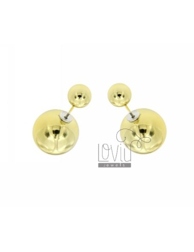 DOUBLE COLOR GOLD BALL EARRINGS 7 MM AND 16 IN METAL