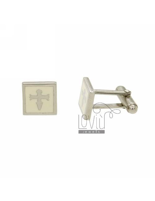 GEMINI MM SQUARE 12X12 WITH CELTIC SYMBOL AND WHITE ENAMEL RHODIUM AG TIT 925