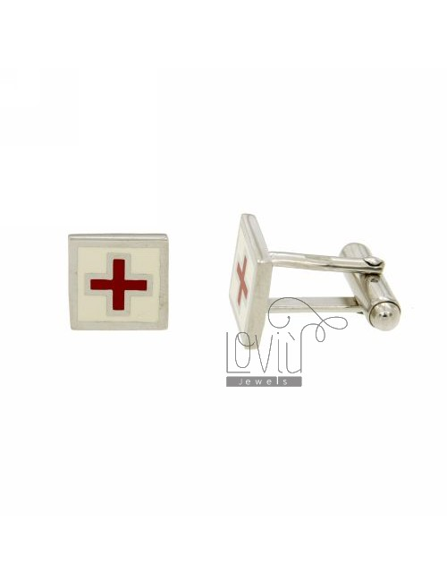 GEMINI MM SQUARE 12X12 WITH CELTIC SYMBOL AND ENAMEL WHITE AND RED IN RHODIUM AG TIT 925