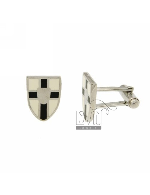 GEMINI MM 16X12 SHIELD SYMBOL WITH CELTIC AND ENAMEL BLACK AND WHITE IN RHODIUM AG TIT 925