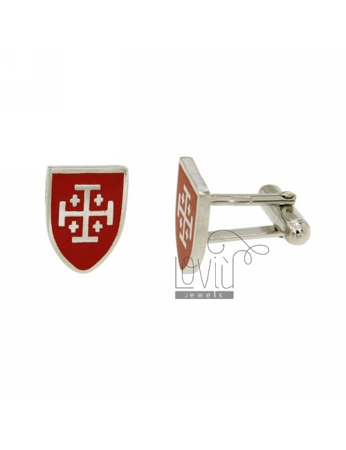 GEMINI MM 16X12 SHIELD SYMBOL WITH CELTIC AND RED ENAMEL RHODIUM AG TIT 925