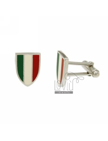 GEMINI MM 16X12 SHIELD WITH GLAZED ITALIAN FLAG IN RHODIUM AG TIT 925