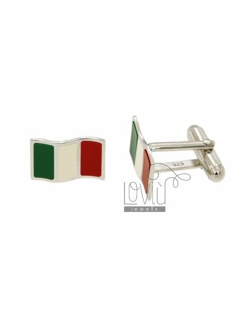 GEMINI MM ITALIAN FLAG 11X16 AG GLAZED IN RHODIUM TIT 925