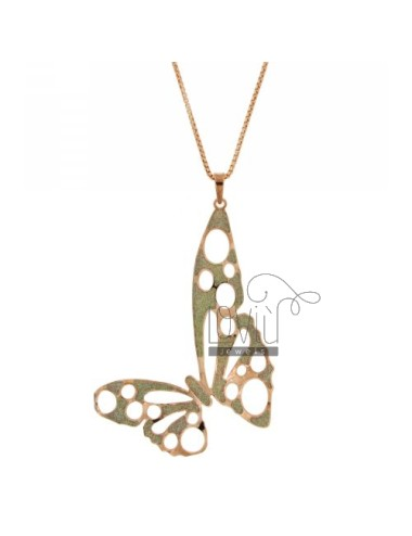 VENETIAN NECKLACE 70 CM WITH BUTTERFLY PENDANT WITH GLITTER ROSE GOLD PLATED BRONZE