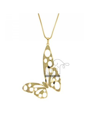 VENETIAN NECKLACE 70 CM WITH BUTTERFLY PENDANT WITH GLITTER IN BRONZE GOLD PLATED