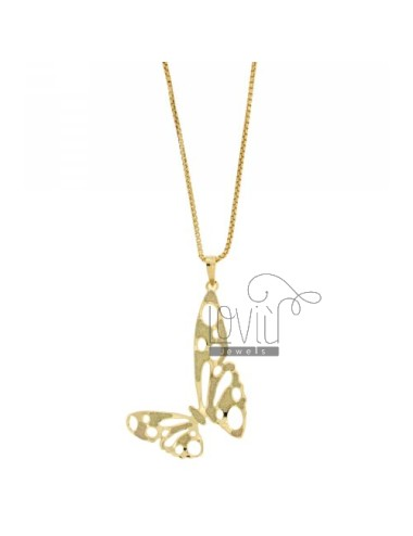 CM 70 CO NECKLACE VENETIAN BRONZE BUTTERFLY SMALL GOLD PLATED