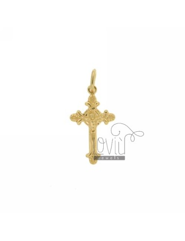 INVESTMENT CAST A 20x12 MM CROSS PENDANT IN SILVER GOLD PLATED TIT BITS 925