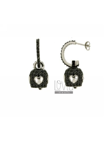 16X12 MM BELL EARRINGS WITH A CIRCLE PAVE &39HEARTS OF ZIRCONIA AND BLACKS IN SHINY RHODIUM AG TIT 925 ‰
