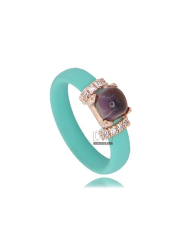 RUBBER RING IN TIFFANY GREEN WITH APPLICATION IN ROSE GOLD PLATED AG TIT 925 ‰ ZIRCONIA AND STONES HYDROTHERMAL ASSORTED COLORS