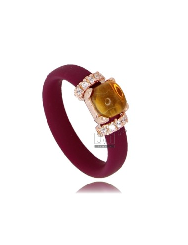 RING IN RUBBER 'VINACCIA WITH APPLICATION IN ROSE GOLD PLATED AG TIT 925 ‰ ZIRCONS AND STONES HYDROTHERMAL ASSORTED COLORS