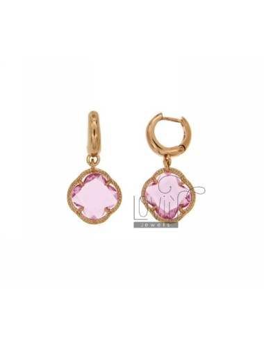 EARRINGS CIRCLE IN SILVER ROSE GOLD PLATED TITLE 925 ‰ AND FLOWER PENDANT SMALL STONE HYDROTHERMAL COLOR PINK LOAD 50
