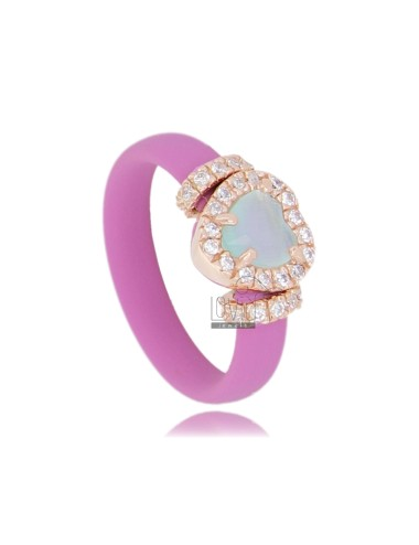 RING IN RUBBER &39PINK WITH APPLICATION TO HEART IN ROSE GOLD PLATED AG TIT 925 ‰, HYDROTHERMAL ZIRCONIA STONES AND VARIOUS CO