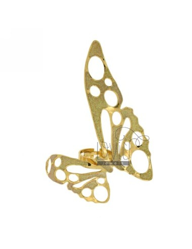 BRONZE BUTTERFLY RING SIZE LARGE YELLOW GOLD PLATED ADJUSTABLE