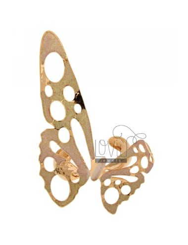 BIG BRONZE BUTTERFLY BANGLE ROSE GOLD PLATED