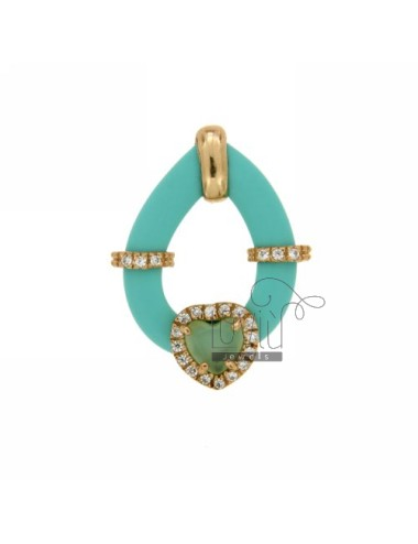 Drop pendant with green...