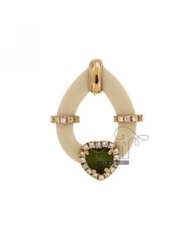 Drop pendant with ivory...