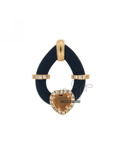 DROP PENDANT WITH RUBBER &39BLUE HEART WITH STONES AND APPLIC. HYDROTHERMAL AND ZIRCONIA SILVER ROSE GOLD PL TIT 925