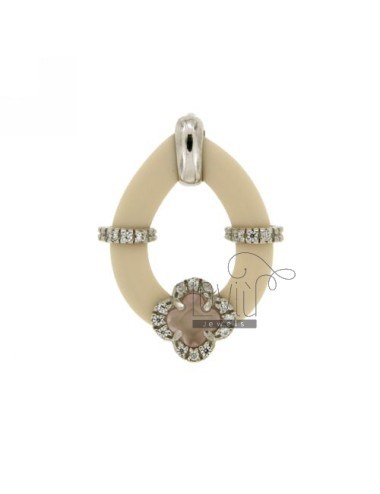 DROP PENDANT WITH RUBBER &39APPLIC. IVORY FLOWER WITH STONES AND HYDROTHERMAL ZIRCONIA SILVER RHODIUM TIT 925