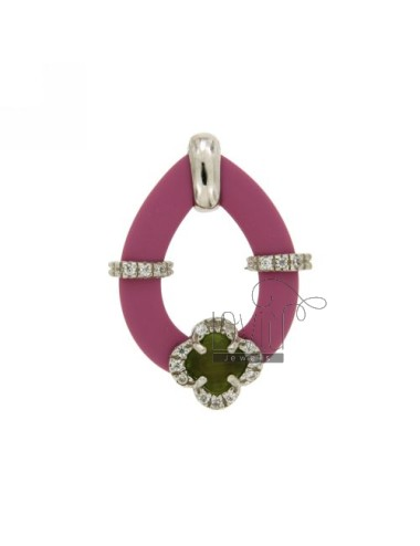 DROP PENDANT WITH RUBBER &39PINK FLOWER WITH STONES AND APPLIC. HYDROTHERMAL AND ZIRCONIA SILVER RHODIUM TIT 925