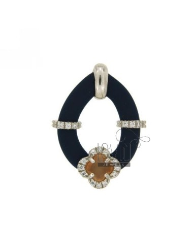 DROP PENDANT WITH RUBBER &39BLUE FLOWER WITH STONES AND APPLIC. HYDROTHERMAL AND ZIRCONIA SILVER RHODIUM TIT 925