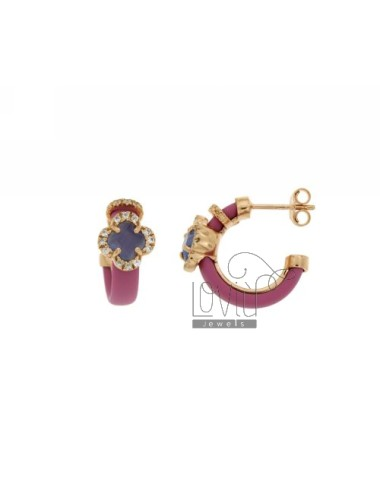 HOOP EARRINGS WITH RUBBER &39PINK FLOWER WITH STONES AND APPLIC. HYDROTHERMAL AND ZIRCONIA SILVER ROSE GOLD PL TIT 925