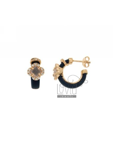 HOOP EARRINGS WITH RUBBER &39BLUE FLOWER WITH STONES AND APPLIC. HYDROTHERMAL AND ZIRCONIA SILVER ROSE GOLD PL TIT 925